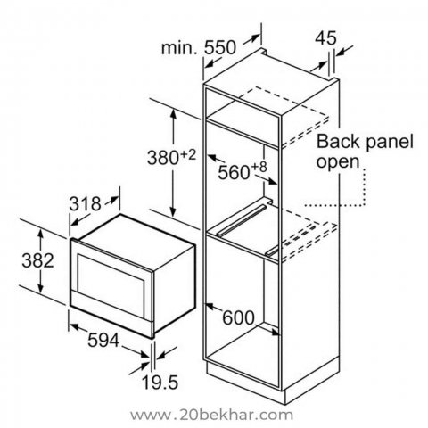 مایکروویو توکار بوش مدل BER634GS1I سری 8