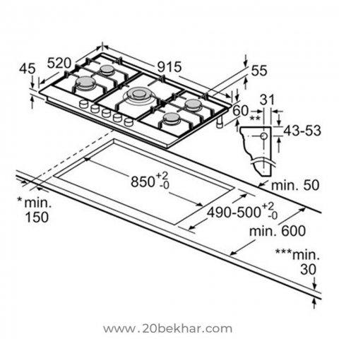 صفحه گازی توکار بوش مدل PCR915B91E