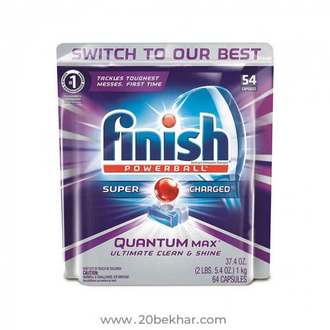 قرص ظرفشویی فینیش مدل QUANTUM لیمویی بسته 54 عددی | Finish limon quantum dishwasher tablets packet of 54